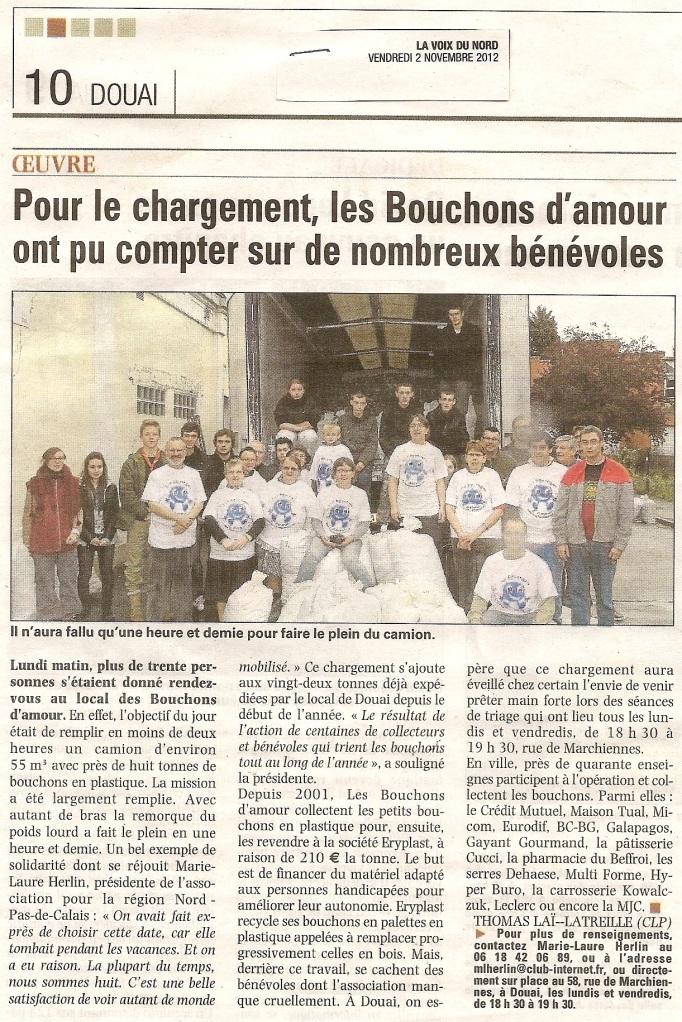 Voix du Nord 2 Novembre 2012